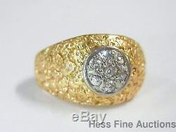 Vintage Mens Heavy 14k Gold Old Cut Diamond 1960s Freeform Dome Nugget Ring sz9