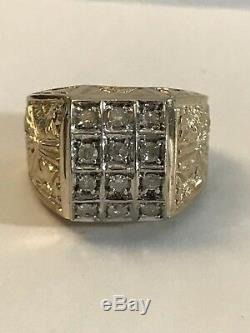 Vintage Mens Large Gold & Diamonds Ring In Size 9 With Amazing Carvings Design