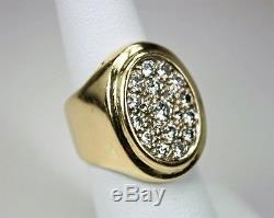 Vintage Mens Pinkie Ring 14K Yellow Gold 1ctw Diamond Cluster Sz 6.25 c1980s