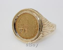 Vintage Mens Ring 14K Yellow Gold 1928 Indian Head 2.5 Dollar US Gold Coin Sz 14