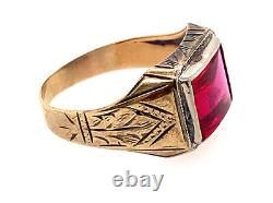 Vintage Mens Ruby Cocktail Ring 3ct Antique Art Deco Yellow Gold Engraved