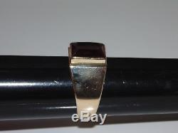Vintage Mens Solid 14K 585 Yellow Gold Signet Ring Ruby US Size 13 UK Z Jewelry
