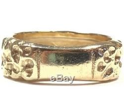 Vintage Mens Solid 14K Yellow Gold Nugget Ring Size 11