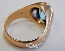 Vintage Mens Solid 14k Yellow Gold & Apprx 4 Carat Aquamarine Ring! A Beauty