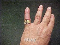Vintage Mens Solitaire 1.04 Cts Diamond Ring Dual Finish Triangle 14k Gold