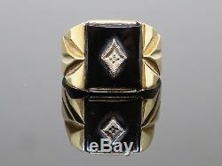 Vintage Onyx and Diamond 10K Yellow Gold Men's Ring, 4.7g, Size 10