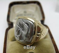 Vintage Ostby Barton Gold & Silver Warrior Intaglio Ring Mens Or Ladies
