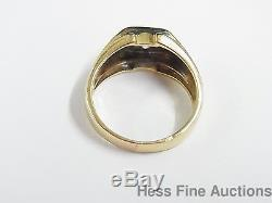Vintage Retro Mens Ultra Fine Diamond Solitaire 14k Gold Ring size 9.5