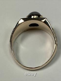 Vintage Rose Gold Mens Ring With Round Gray Star Sapphire Size 9.25 Engraved