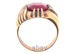 Vintage Ruby Mens Cocktail Ring 6.50ct Yellow Gold Antique Art Deco