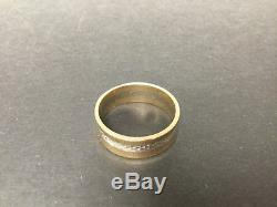 Vintage Size 10 Mens Wedding Ring -14k Solid Yellow Gold and White Gold 4.9 g