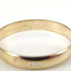Vintage Solid 14K Yellow Gold Men's Smooth Plain 4mm Wedding Band Ring Size 11
