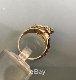 Vintage Solid 9ct Gold Men's/Women's Small Saddle Ring Size N Quality W6.96g