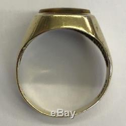Vintage Solid 9ct Yellow Gold Men's Tigers Eye Signet Ring Size S 1977
