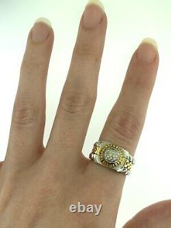 Vintage Two Tone Diamond Watch Design Mens Ring Platinum and 18k Gold Size 7.75