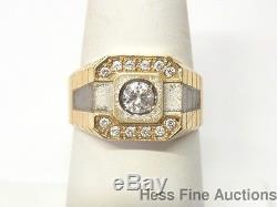 Vintage Two Tone Solid Gold Fine Qulaity 0.75ctw Diamond Mens Ring Size 10.25