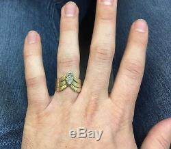 Vintage Unisex 14k Yellow Gold Diamond Cluster Ring Cocktail Triple Band Mens 8