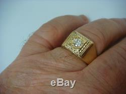 Vintage Yellow Gold And Approx. 0.33 Ct Diamond Men's Ring, 5.6 Grams, Size 9.5