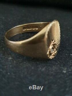 Vintage signet hand crafted ring 9k gold London 1979 Men' Diamond Ring Size 9.5