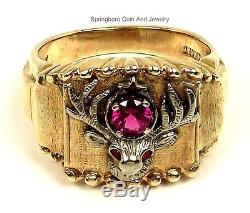 Vtg 10K GOLD White Yellow Ruby Signed Craft BPOEELKS Mens Size 10.5 Ring11.4 G