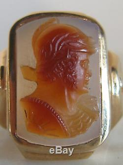 Vtg Antique Art Deco Men's 14 k Gold Ring Agate / Carnelian Carved Knight Cameo