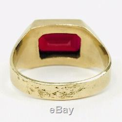 Vtg Art Deco Men's 10K Solid Yellow Gold Synthetic Red Ruby Stone Ring Size 10