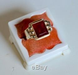 Vtg Art Deco Men's 10K Yellow Gold Synthetic Red Ruby Stone Ring Size 9.5