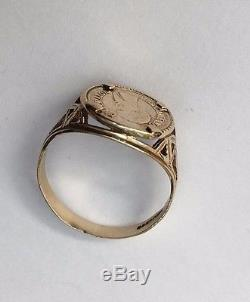 Women's/Men's Coin/Medal Ring Vintage 9ct Gold Hallmarked Size M Weight 1.94g